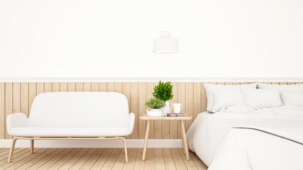 bedroom or guestroom for hotel minimal design - 3d Rendering