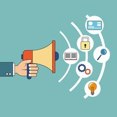 digital marketing hand holding speaker development vector illustration eps 10