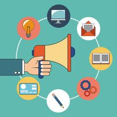 hand holding digital marketing design vector illustration eps 10