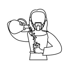 jesus christ holding clay pitcher water wine outline vector illustration eps 10