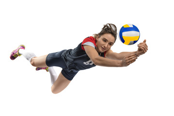 Female volleyball player reaching the ball isolated