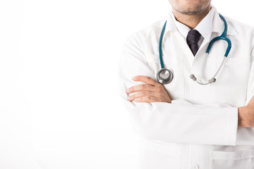 Asian male medical doctor on white background