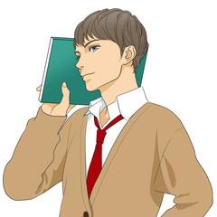 ノートを持つ男子高生
