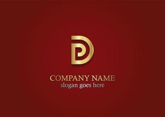 shape gold letter d company logo