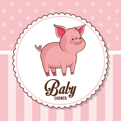 baby shower card invitation cute piggy vector illustration eps 10