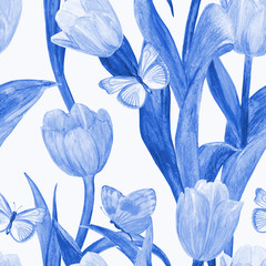 monochrome seamless texture with blue tulips and butterflies for your design. watercolor painting