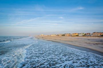 The Atlantic Ocean and shore in Ventnor City, New Jersey.