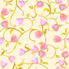 abstract floral seamless texture. watercolor painting