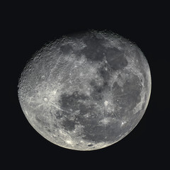 Waning gibbous moon at 89% illumination captured with an astronomical telescope (photo taken with my own telescope, no NASA images used). Square format.