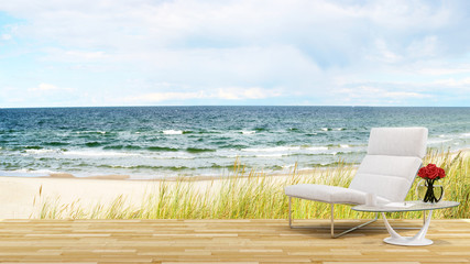 living terrace on the beach and sea view - 3D Rendering