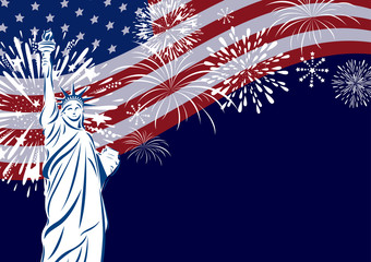 Vector USA celebration design of liberty statue and USA flag with firework