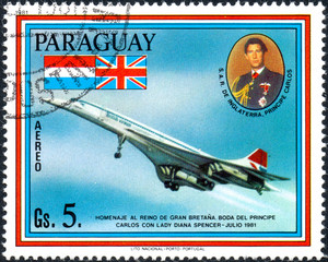 UKRAINE - CIRCA 2017: A postage stamp printed in Paraguai shows Concord aircraft, from the series Wedding of Prince Charles and Lady Diana Spencer, circa 1981