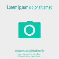Camera icon; vector illustration. Flat design style