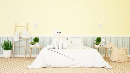 white bear in kid room or bedroom-3D Rendering