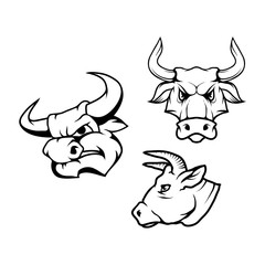 Vector set of black bulls head and bull logo Isolated on white background