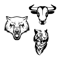 Vector set of black bull head, wolf head and Tiger head Isolated on white background. Animal logo