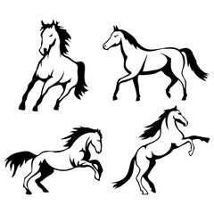 Vector set of black horse's head and mustang logo Isolated on white background