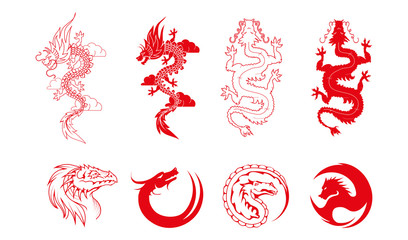 Vector set of red dragons and dragon logo Isolated on white background