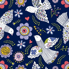 Doves and flowers. Vector seamless pattern.