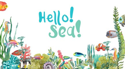 Watercolor Sea Life, Seaweed, Shell, fish, sea horse, beautiful background