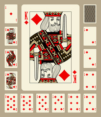 Diamonds suit playing cards