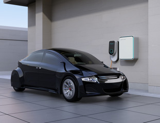 Back electric car charging at home charging station. 3D rendering image.