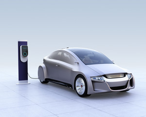 Silver electric car and EV charging station on gradient background. 3D rendering image.