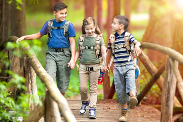 kids scouts traveler with backpack hiking bridge in forest