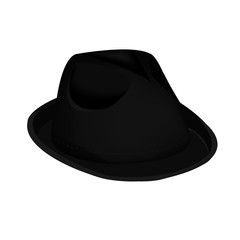 black unisex fashion hat, summer panama hat isolated vector