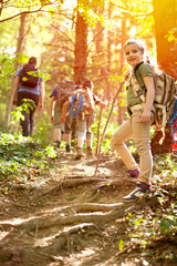 Children scouts explore the beautiful forest