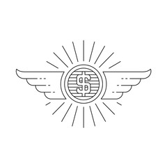 Coin with wings retro emblem