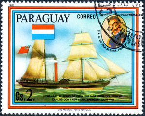 UKRAINE - CIRCA 2017: A postage stamp printed in Paraguai shows sailing ship William Fawcett and portrait of Prince Charles, from the series Wedding of Prince Charles and Lady Diana, circa 1981