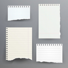 Notebook Papers With Torn Edge Vector Illustration. Ripped Paper Page Set, Empty Damaged Rip Paper.