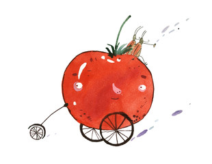 watercolor vegetable cars
