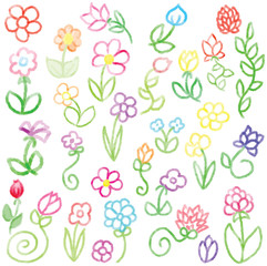 Collection of Crayon Flowers Vector