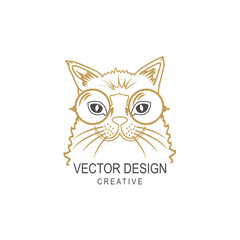 Hipster cat in glasses vector illustration. Creative art design. T-shirt or print concept