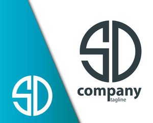 Initial Letter SD With Linked Circle Logo