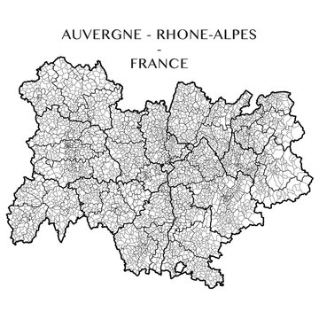 Detailed map of the region of Auvergne Rhone Alpes, France including all the administrative subdivisions (departments, arrondissements, cantons, and municipalities). Vector illustration