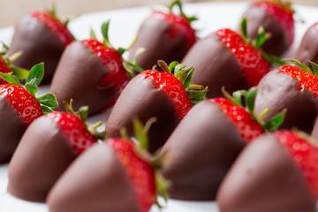 strawberries dipped in dark chocolate.