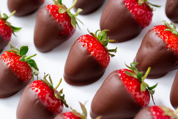red strawberries dipped in chocolate.