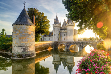 The chateau of Sully-sur-Loire in the sunlight with lens flare, France