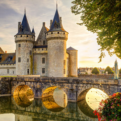 Fototapete - The chateau of Sully-sur-Loire at suset, France
