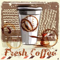 Coffee poster with coffee mug on a grunge retro background. Quality fresh coffee