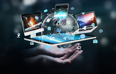 Businesswoman connecting tech devices to each other 3D rendering
