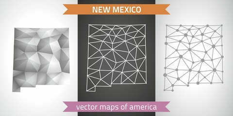 New Mexico set of grey and silver mosaic 3d polygonal maps. Graphic vector triangle geometry outline shadow perspective maps