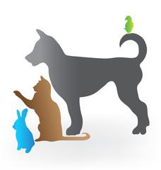 Cat dog rabbit and parrot logo vector