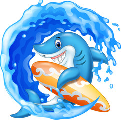 Cartoon shark holding surfboard in the ocean