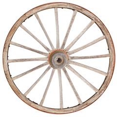 vieille roue de charrette en bois