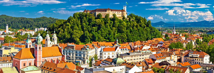 Aluminium Prints Eastern Europe City of Ljubljana panoramic view