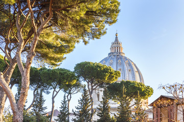 The dome of St. Peter's Basilica in the Vatican